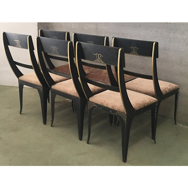 Early Regency or Gustavian Bellman Chair After Sheraton, Set of Six Iron Chairs For Sale - Image 4 of 10
