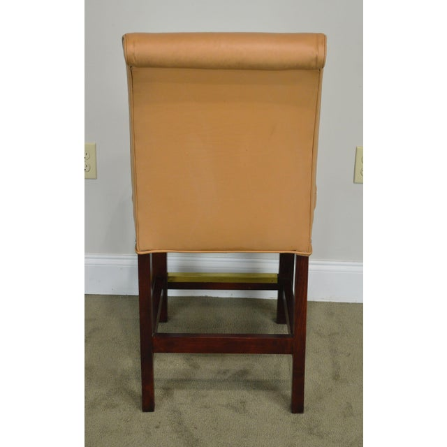 1990s Fairfield Set 4 Tan Leather Bar Stools For Sale - Image 5 of 12