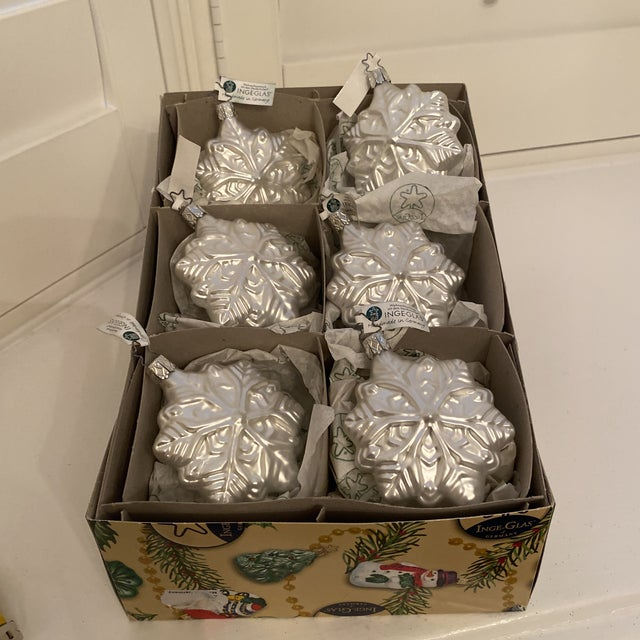 Set of 6 Inge Hand blown glass ornaments. Boxed and direct from Germany
