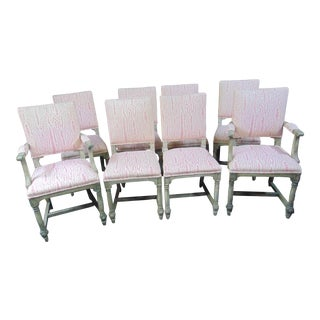 Victorian Gustavian Style Gray Painted Dining Chairs - Set of 8 For Sale
