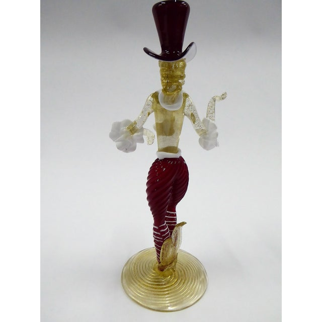 Hollywood Regency 1950s Murano Venetian Figurine with Top Hat For Sale - Image 3 of 11