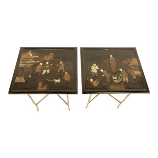 Pair of Bamboo Brass Base and Chinoiserie Top Side Tables For Sale