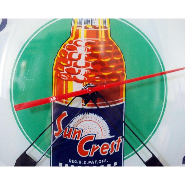 Americana 1950s Vintage Sun Crest Soda Bubble Glass Wall Clock For Sale - Image 3 of 8