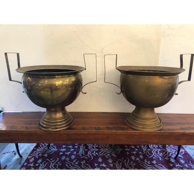 19th Century French Brass Planters Urns - A Pair For Sale - Image 12 of 12