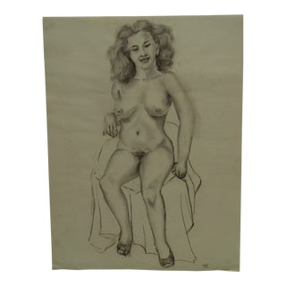 "1949 Mid-Century Modern Original Drawing on Paper, ""Frontal Nude With Shoes"" by Tom Sturges Jr. For Sale"