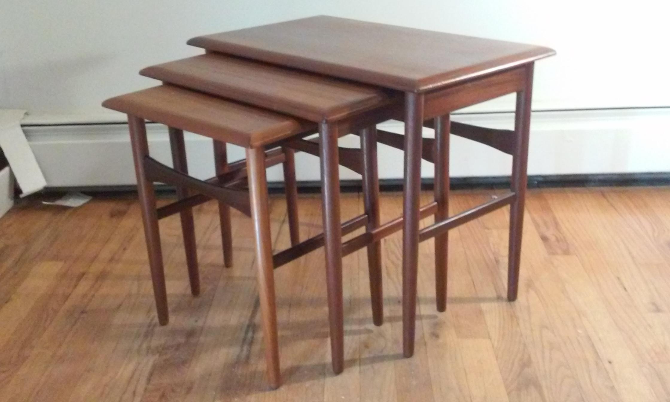 Svendborg Mid Century Teak Nesting Tables   Set Of 3   Image 3 Of 8