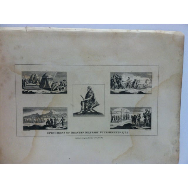"""This is an antique and rare original engraving that is titled """"Specimens of Beaver's Military Punishments - 1725"""" by John..."""
