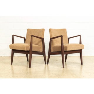 Mid Century Jens Risom Walnut Wood and Upholstered Lounge Arm Chairs Preview