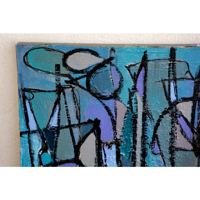 """Acrylic """"Sea Moons"""" Acrylic on Canvas by Artist Kenneth Joaquin For Sale - Image 7 of 13"""