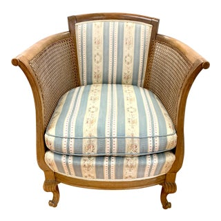 Antique French Cane Bergere Armchair For Sale