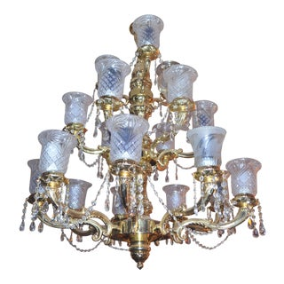 Antique Victorian Three Tier Brass and Crystal Chandelier For Sale