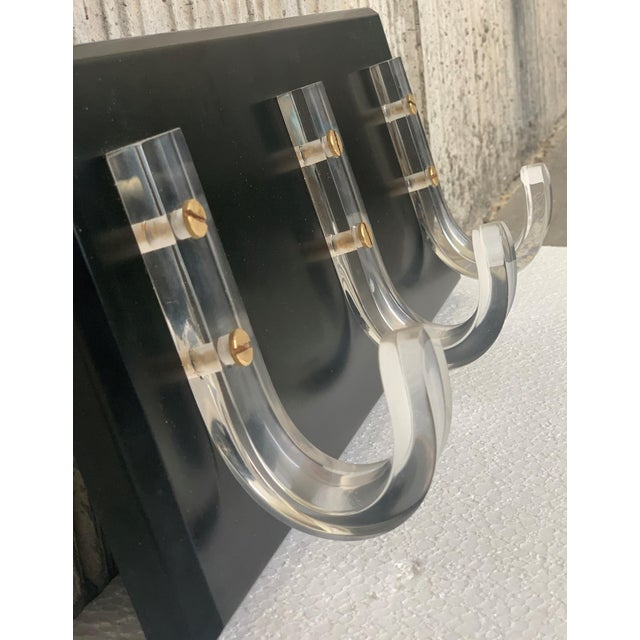 Wood Mid-Century Modern Ebonized Coat Rack With Three Lucite Hangers, 1950, Italy For Sale - Image 7 of 11