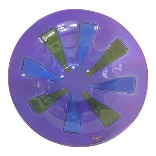 1970s Mid Century Modern Higgins Fused Bubble Art Glass Purple Green and Blue Bowl, Signed For Sale