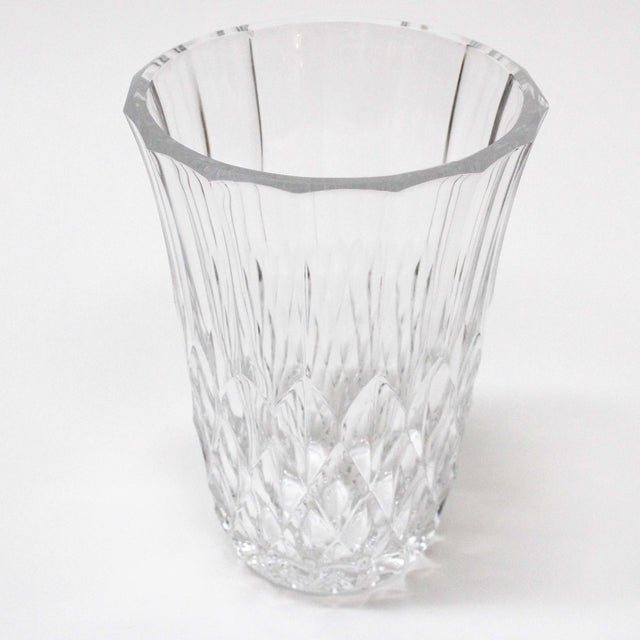 Traditional Val St Lambert Diamond Crystal Vase For Sale - Image 3 of 6