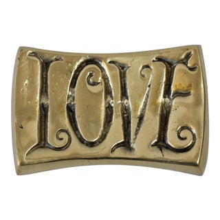 LOVE/HATE Brass Paperweight For Sale