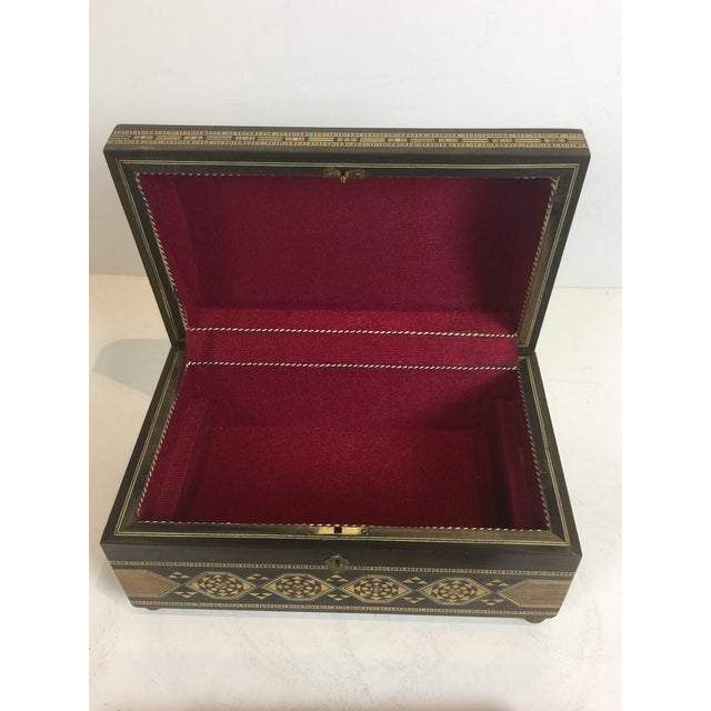 Gold Handcrafted Inlaid Wood Moorish Jewelry Box For Sale - Image 8 of 13