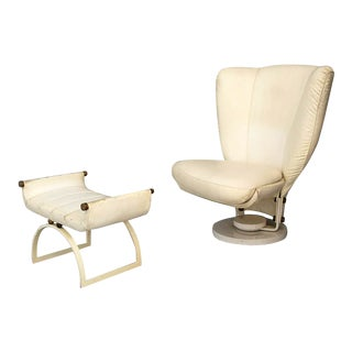 Swivel Armchair by Marzio Cecchi With Pouf in Brass and White Leather From 1970 For Sale