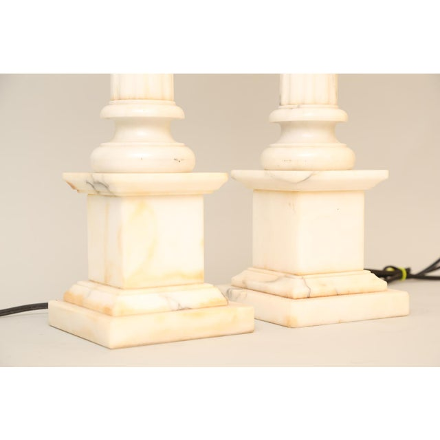 Pair of Carved Alabaster Columnar Form Table Lamps For Sale - Image 4 of 12