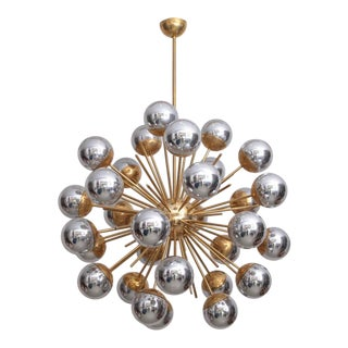 1 of 2 Exceptional Huge Sputnik Murano Glass and Brass Chandelier For Sale
