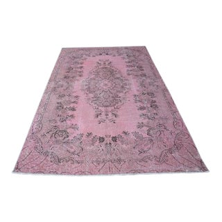 1960s Vintage Turkish Pink Rug - 5′4″ × 8′8″ For Sale