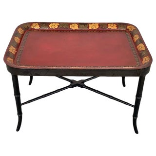 Regency Tole Tray Table in Red, Faux Bamboo Ebonized Base For Sale