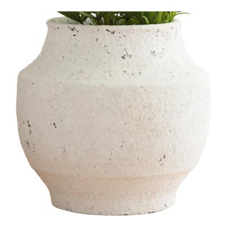White Washed Finish Ceramic Pot, Small For Sale