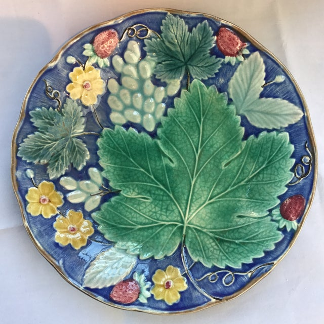Swedish majolica floral and berry plate. Makers mark on underside.