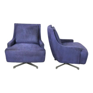 Pair of Aubergine Scoop Swivel Lounge Chairs With Metal Base by Barbara Barry for Hbf For Sale