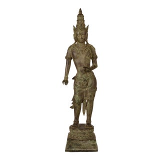 Tall Asian Thai God Metal Figurine For Sale