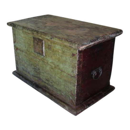 Huge 1650s Asian Trunk, Wood & Iron, Handmade Craftsmanship For Sale
