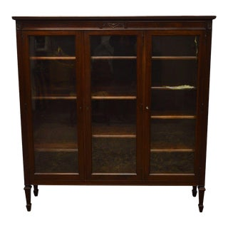 Antique George C. Flint Solid Mahogany 3-Door Bookcase For Sale