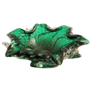 Mid-Century Murano Emerald & Copper Cigar Ashtray