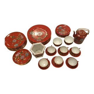 Chinese Vintage Hand Painted Red Flowers Porcelain China Set of 44 For Sale