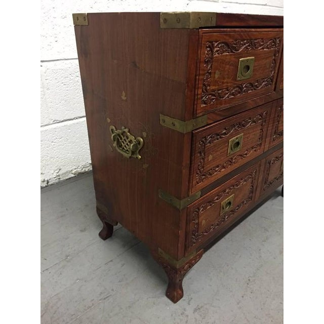 Brown Pair of Vintage Mahogany and Brass Inlay Campaign Chests For Sale - Image 8 of 9