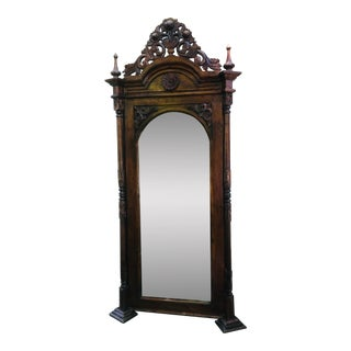 Carved Wood Standing Mirror For Sale