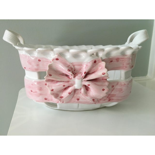 1980s Portuguese Hand Painted Pink Bow Ceramic Basket For Sale - Image 11 of 12
