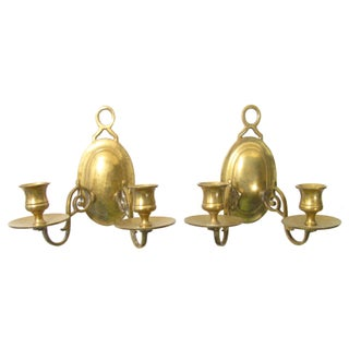Brass Two-Arm Candle Sconces - A Pair For Sale
