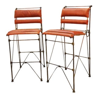 Brutalist Pair of Industrial Leather and Iron Barstools by Ilana Goor. For Sale