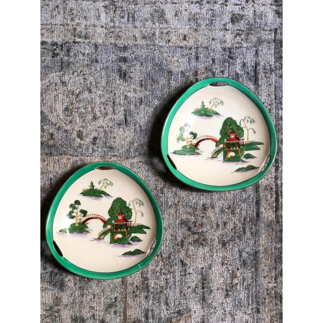 Midcentury Pair of Chinoiserie Noritake Triangular Plates With Handles For Sale - Image 13 of 13