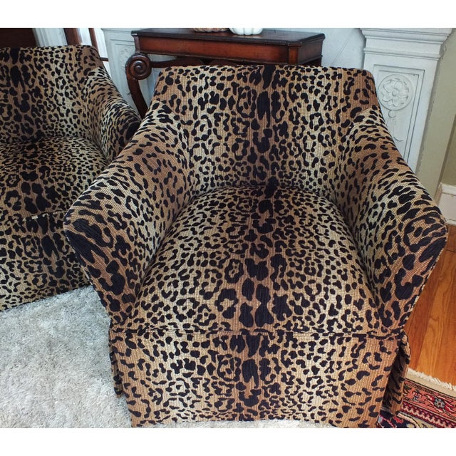 Vintage Leopard Swivel Club Chairs - Pair - Image 11 of 11