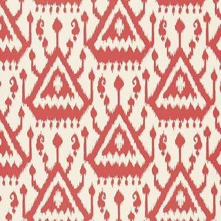 Sample - Schumacher Vientiane Ikat Wallpaper in Coral For Sale