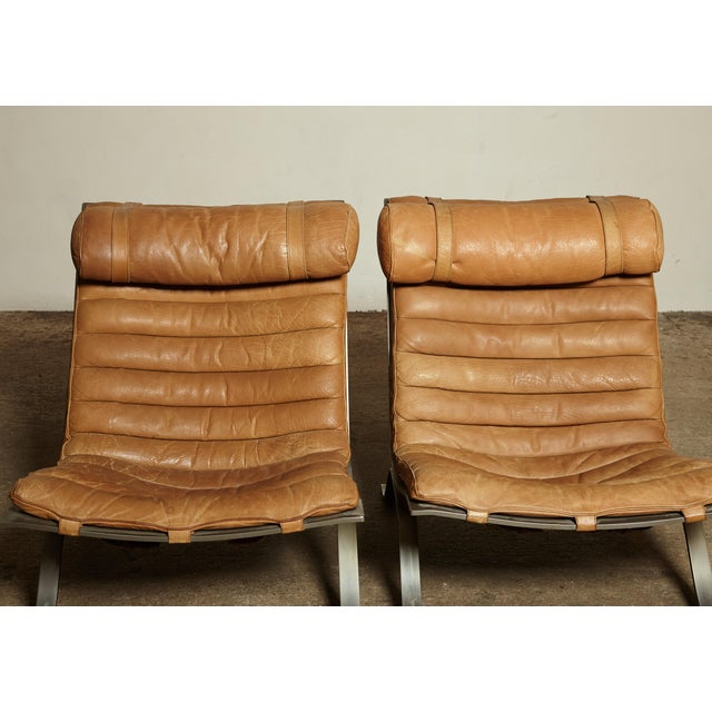 Tan Pair of Arne Norell Tan Leather Ari Chairs, Norell Mobler, Sweden, 1970s For Sale - Image 8 of 11