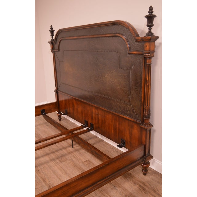 Brown Theodore Alexander Armoury Collection Engraved Brass Paneled King Bed For Sale - Image 8 of 12