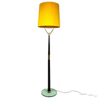 1940´s Standing Lamp, mahogany, polished brass, thick glass, golden silk- Italy For Sale