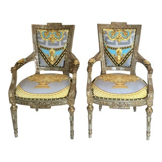 Mainland Smith Accent Chairs- a Pair With Gianni Versace Lion Urn Upholstery For Sale