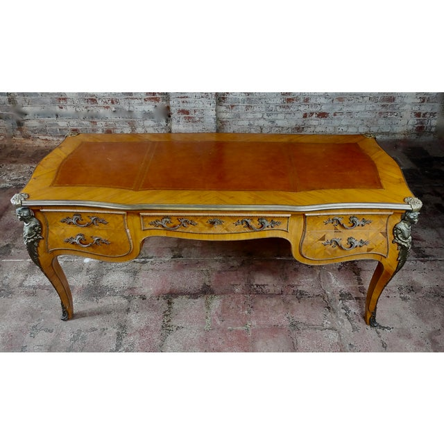 """Louis XV Bureau Plat-Bronze Mounted, Inlaid parquetry and leather top- Desk size 72 x 31 x 31"""" Beautiful Vintage French..."""