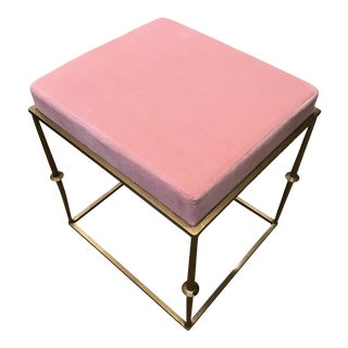 Modern Pretty in Pink Stool With Brass Metal Base For Sale