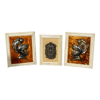 Vintage Mid Century Modern Medieval Knights Shield Wall Pictures - Set of 3 For Sale