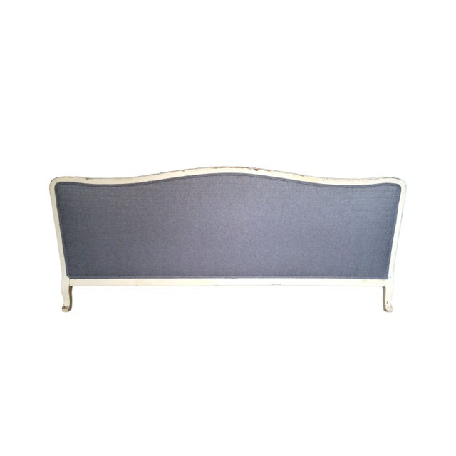 French Country Vintage French Provincial Sofa in Grey For Sale - Image 3 of 6