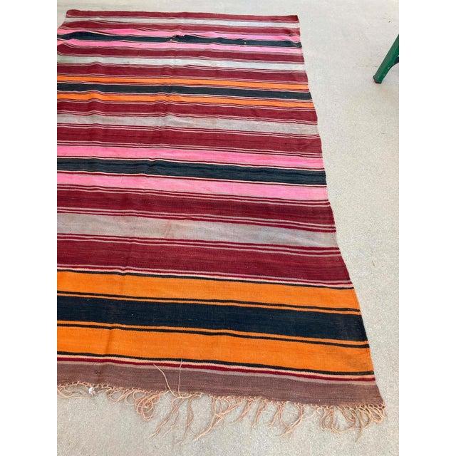 Moroccan Vintage Flat-Weave Stripe Kilim Rug For Sale - Image 10 of 13